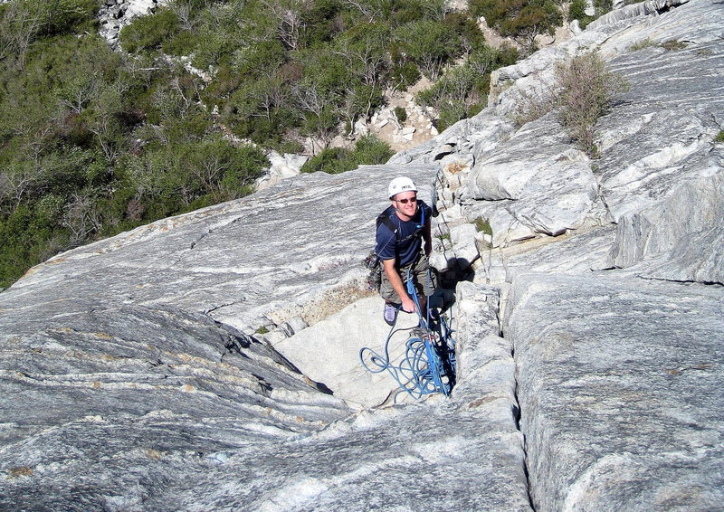 Eric chillin' on the belay ledge of East Crack.