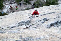Rock Climbing Photo: Dana starts up the Bear's Reach.