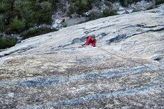 Rock Climbing Photo: Dana a bit higher on P1 of Bear's Reach.