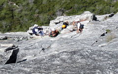 Rock Climbing Photo: Be forewarned, 3 popular routes converge at this b...