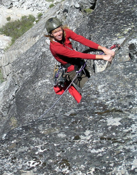 Dana tops out on Scimitar - a really great route!