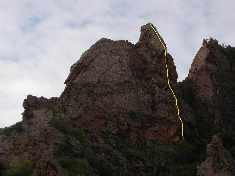 Rock Climbing Photo: The yellow line marks The Magical Mystery Tour