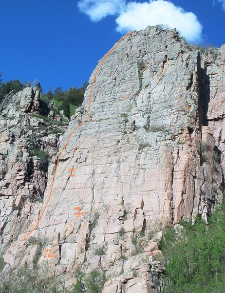West Face Left (5.8), Tombstone, Sandia Mountains, NM