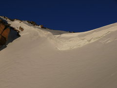 Rock Climbing Photo: Big cornice at the top of the couloir!  June 7, 20...