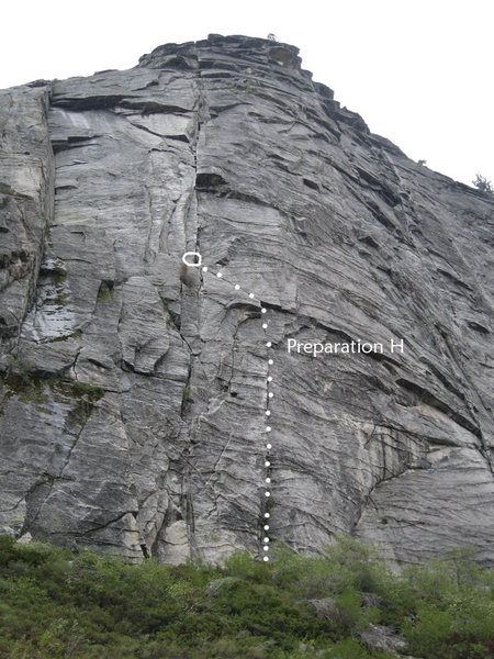 Looking up the east wall of Lover's Leap. Preparation H is highlighted.
