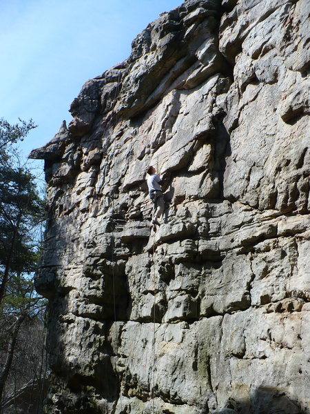 Mike on Rabies...Pump Handles climbs groove/right facing flake to the right, Sandrock, AL.