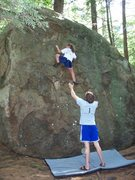 Rock Climbing Photo: Taylor working out the height crux on this problem