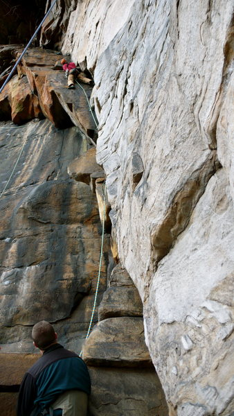 Rock Climbing Photo: Bryan leading Second Thoughts, NRG, WV.