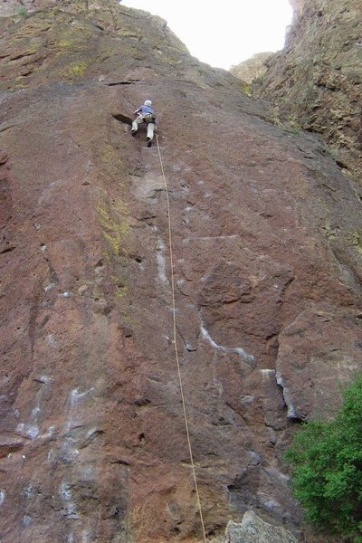 A lousy shot but gives a good perspective of the route and the first blocky section that's a bit runout but very easy.  Yours truly in I think 2005.