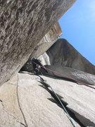 Rock Climbing Photo: Josh heading into the Harding Slot.