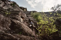 Rock Climbing Photo: mike gray leading pitch 1 quadrophenia 5.7