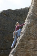 Rock Climbing Photo: My wife above the second bolt.