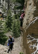 Rock Climbing Photo: My wife, making the crux move.