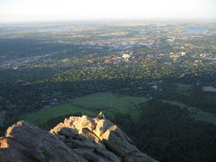 Rock Climbing Photo: Nearing sunset, MaryKay emerges high above Boulder...