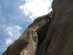 Rock Climbing Photo: Mike stepping right after the mini roof on the sec...