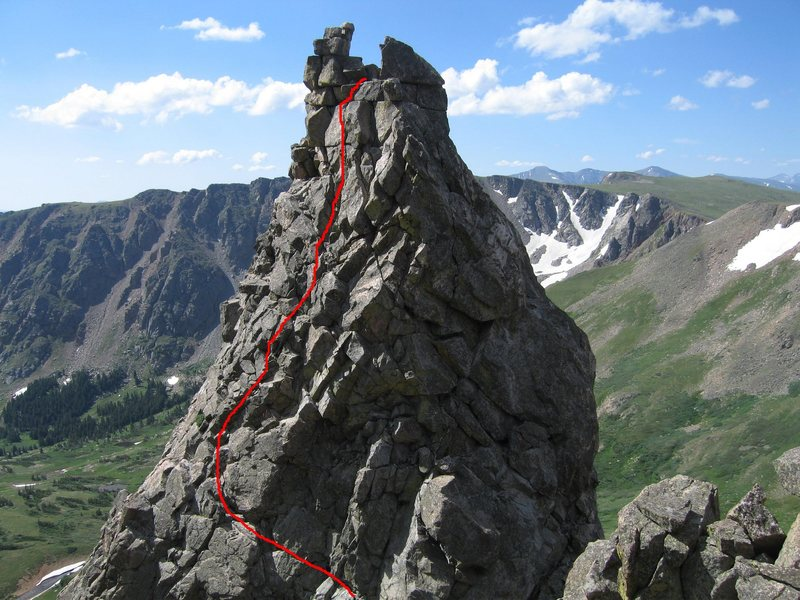 The route sans the first 20 feet from the notch (below the bottom of the picture). The crux is the final crack system just before the summit. As can be seen/imagined, this route produces little rope drag.