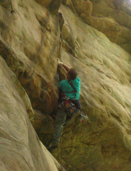 Rock Climbing Photo: Roof slot crux.