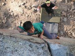Rock Climbing Photo: Jeffy on Center Crack (V0), Tramway