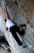 Rock Climbing Photo: Nic O reaching on the FA of Vesper (V10), Tramway