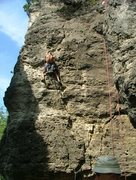 Rock Climbing Photo: Tom on Double Overhang.  I saw a cam drop out of p...