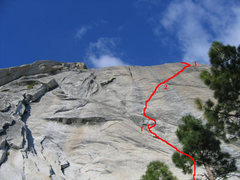 Rock Climbing Photo: First three pitches of Blondike as seen from the a...