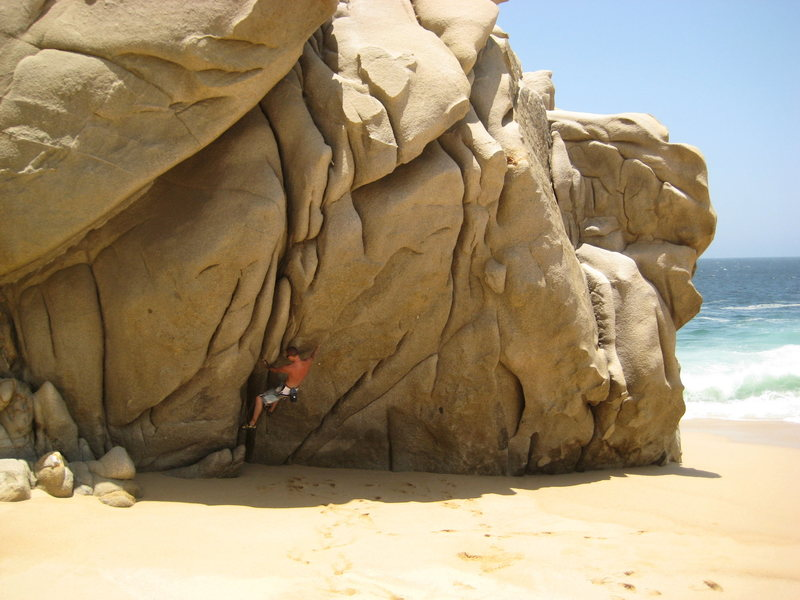 Rock Climbing Photo: the cave from a far showing proj 1 being climbed a...