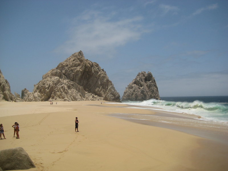 Lovers Beach on the Pacific side. The boulders are on the far end of this photo.