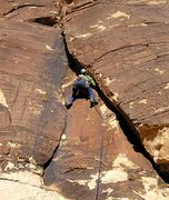 Rock Climbing Photo: The varnished corner on pitch 2 of the Rainbow But...