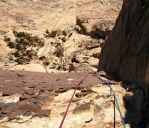 Rock Climbing Photo: The view down the upper corner on pitch 3.