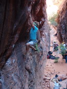 Rock Climbing Photo: Sticking the move on the dyno variation.