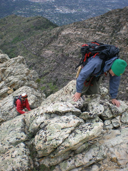 Typical climbing (errr... scrambling) along this excellent ridge.