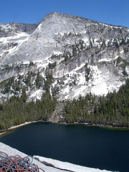 Amazing views to be had from atop Stately Pleasure Dome. <br> <br> Looking down at Tenaya Lake 6/10/08<br> <br>
