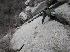 Rock Climbing Photo: Gregg on the FA