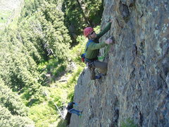 Rock Climbing Photo: Jesse Climbing the second pitch of Implorien