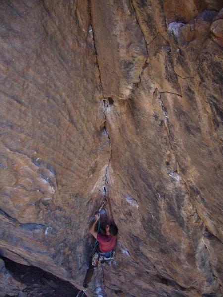 Rock Climbing Photo: The wild overhanging dihedral of the second pitch ...