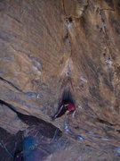 Rock Climbing Photo: Steve actually stopped halfway up the crux pitch, ...