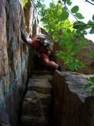 Top half of P1 of Betty. At te Gunks, you have to pull a rough even at 5.3!