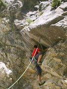 Rock Climbing Photo: Christian beginning the crux