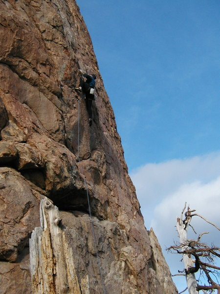 A mid-winter ascent of High Noon (5.10b), Holcomb Valley Pinnacles.