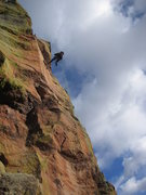 Rock Climbing Photo: Mark Knutson rappelling off the backside of the th...