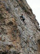 Rock Climbing Photo: Loren leading Rebel Rebel (5.8), Benton Crags