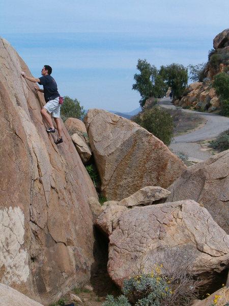 Tyler enjoying a lap on Island Crack (5.7), Mt. Rubidoux