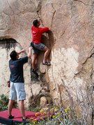 Rock Climbing Photo: Loren starting up Five Niner (V1), Mt. Rubidoux