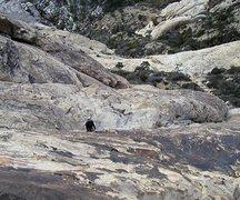 Rock Climbing Photo: Good slab climbing on the first pitch of Saint Ste...