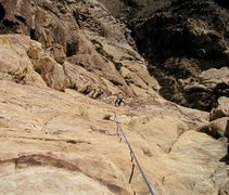 Rock Climbing Photo: Looking down at the upper slabs.  The climbing in ...