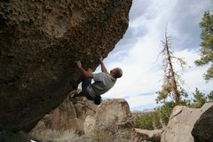 Rock Climbing Photo: Mike pulling hard on the pockets of Everything and...