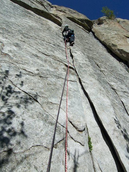 Rock Climbing Photo: It is difficult to stop and place gear in the firs...