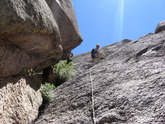 Rock Climbing Photo: Greg about halfway up P2.