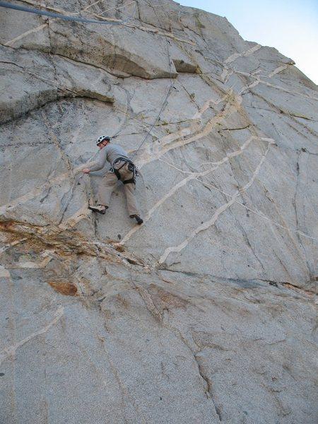 Rock Climbing Photo: Bryan starting the crux traverse on Cragganmore (5...