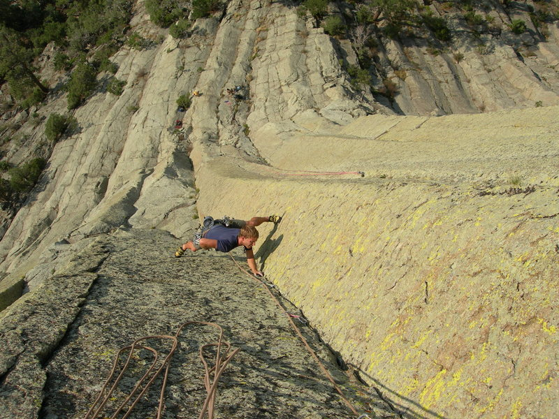 More stems above the roof on the crux pitch. The rock, the position, and the colors are amazing up there.<br> That's Cooper and Dubois with their rope on Bloodguard, to the right